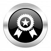 award black circle glossy chrome icon isolated