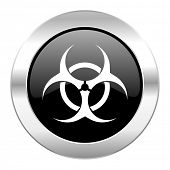 biohazard black circle glossy chrome icon isolated