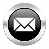 email black circle glossy chrome icon isolated