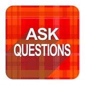 ask questions red flat icon isolated