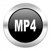 mp4 black circle glossy chrome icon isolated