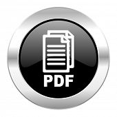 pdf black circle glossy chrome icon isolated,