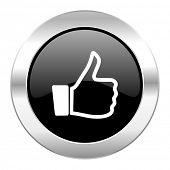 like black circle glossy chrome icon isolated
