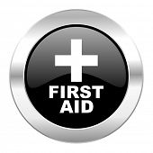first aid black circle glossy chrome icon isolated