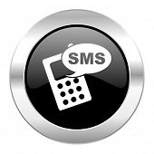 sms black circle glossy chrome icon isolated