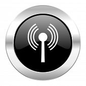 wifi black circle glossy chrome icon isolated