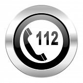 emergency call black circle glossy chrome icon isolated