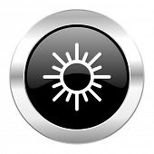 sun black circle glossy chrome icon isolated