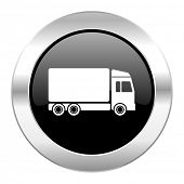 delivery black circle glossy chrome icon isolated