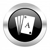 card black circle glossy chrome icon isolated