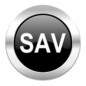 sav black circle glossy chrome icon isolated