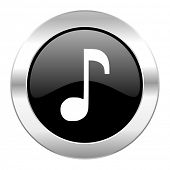 music black circle glossy chrome icon isolated