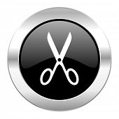 scissors black circle glossy chrome icon isolated