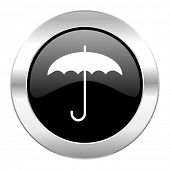 umbrella black circle glossy chrome icon isolated