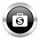 financial black circle glossy chrome icon isolated
