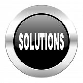 solutions black circle glossy chrome icon isolated