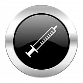 medicine black circle glossy chrome icon isolated