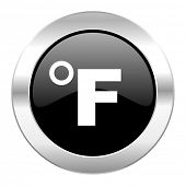 fahrenheit black circle glossy chrome icon isolated