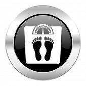 weight black circle glossy chrome icon isolated