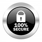 secure black circle glossy chrome icon isolated