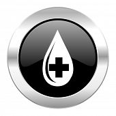 blood black circle glossy chrome icon isolated