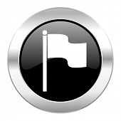 flag black circle glossy chrome icon isolated