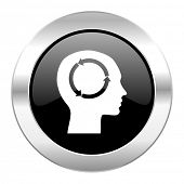 head black circle glossy chrome icon isolated