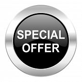 special offer black circle glossy chrome icon isolated