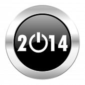 year 2014 black circle glossy chrome icon isolated