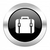 bag black circle glossy chrome icon isolated