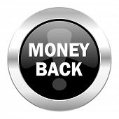 money back black circle glossy chrome icon isolated