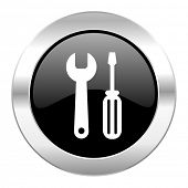 tools black circle glossy chrome icon isolated