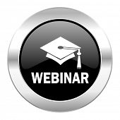 webinar black circle glossy chrome icon isolated