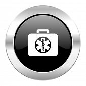 rescue kit black circle glossy chrome icon isolated