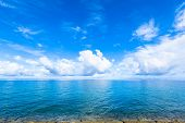 Clouds and blue ocean in Okinawa, tropical island
