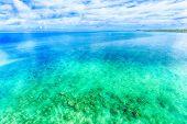 Blue sky and emerald green sea of Okinawa