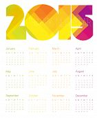 Calendar 2015 Colorful. Vector.