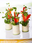 Raw Zucchini Roll-Ups with peppers,carrots,cheese and sprouts for holiday