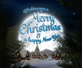 foto of cursive  - Merry christmas message against christmas village under full moon - JPG