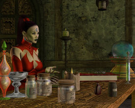 foto of witch-doctor  - A witch teaches her students about potions from her magic spell book - JPG