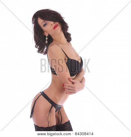 poster of Sexy Burlesque Dancer Woman Stripper Showgirl In Studio Isolated