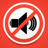 stock photo of silence  - Eps 10 vector Illustrations of Speaker with probition sign - JPG