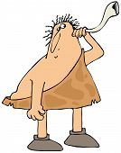 pic of caveman  - This illustration depicts a caveman with a hearing problem holding a rams horn up to his ear - JPG