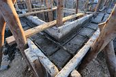 foto of reinforcing  - construction house reinforcement metal framework for concrete pouring - JPG