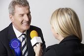 picture of election  - Politician Being Interviewd By Journalist During Election - JPG
