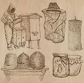 stock photo of freehand drawing  - BEES BEEKEEPING and HONEY - JPG