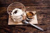stock photo of gelato  - Affogato with Ice Cream and Coffee on wood - JPG