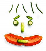 Vegetable and fruit face smile