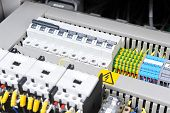 picture of electricity  - New control panel with electrical equipment - JPG