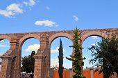 pic of conquistadors  - Spanish colonial aquaeduct providing water in former silver mining town of Zacatecas - JPG